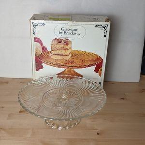 "Vintage Brockway 10"" nouveau Cake Plate clear"